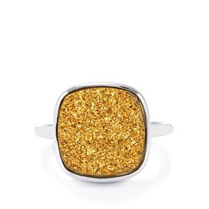Golden Drusy Ring in Sterling Silver 6.84cts