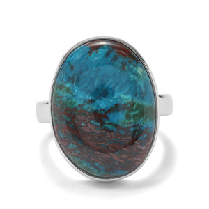 15.10ct Chrysocolla Sterling Silver Indus Valley Ring