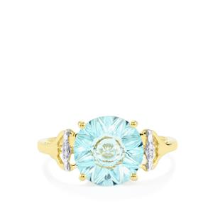 Lehrer QuasarCut Sky Blue Topaz Ring with Diamond in 10K Gold 3.37cts