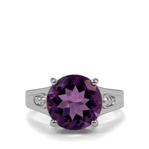 Zambian Amethyst & White Topaz Sterling Silver Ring ATGW 6.04cts