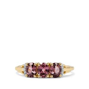 Mahenge Pink Spinel & Diamond 9K Gold Ring ATGW 1.11cts