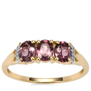 Mahenge Pink Spinel Ring with Diamond in 10K Gold 1.11cts