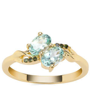 Aquaiba™ Beryl Ring with Green Diamond in 9K Gold 0.82cts