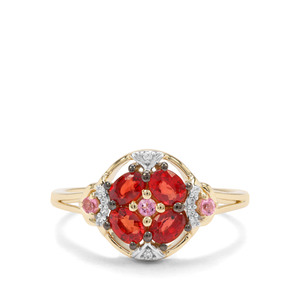Songea Ruby, Pink Tourmaline & White Zircon 9K Gold Ring ATGW 1.05cts