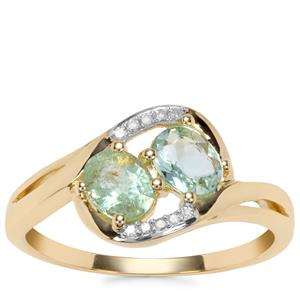 Paraiba Tourmaline Ring with Diamond in 10K Gold 0.89cts