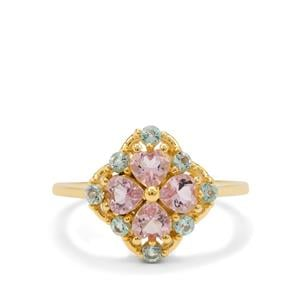 Cherry Blossom Morganite Ring with Aquaiba™ Beryl in 9K Gold 1.10cts