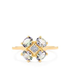 Bi Color Tanzanite Ring with Diamond in 10k Gold 1.20cts