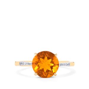 American Fire Opal Ring with White Zircon in 10K Gold 2.04cts