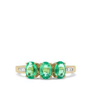 Ethiopian Emerald Ring with Diamond in 18K Gold 1.43cts