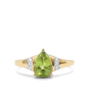 Pakistani Peridot & White Zircon 9K Gold Ring ATGW 1.87cts