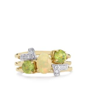 Ethiopian Opal, Ambilobe Sphene & White Topaz 9K Gold Set of 3 Stacker Rings ATGW 1.45cts