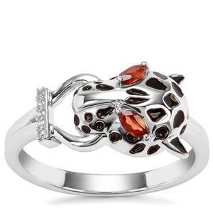 Nampula Garnet Ring with White Zircon in Sterling Silver 0.25cts