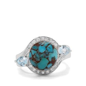 Egyptian Turquoise, Sky Blue Topaz & White Zircon Sterling Silver Ring ATGW 6.19cts