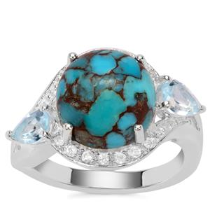 Egyptian Turquoise, Sky Blue Topaz Ring with White Zircon in Sterling Silver 6.19cts