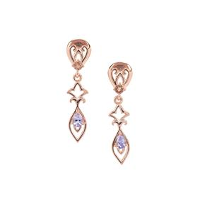 Tanzanite Earrings with Sopa Andalusite in Rose Gold Plated Sterling Silver 0.43ct