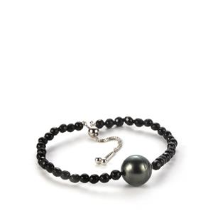 Tahitian Cultured Pearl Slider Bracelet with Black Agate in Sterling Silver  (12mm)