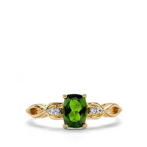 Chrome Diopside & White Zircon 9K Gold Ring ATGW 0.99cts