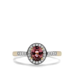 Burmese Pink Spinel Ring with White Zircon in 10K Gold 0.89cts