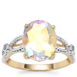 Mercury Mystic Topaz Ring with White Zircon in 10K Gold 4.25cts