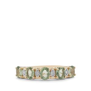 Tanzanian Green Sapphire Ring with Diamond in 9K Gold 1.61cts