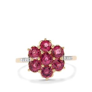 Comeria Garnet Ring with Diamond in 9K Gold 2.18cts