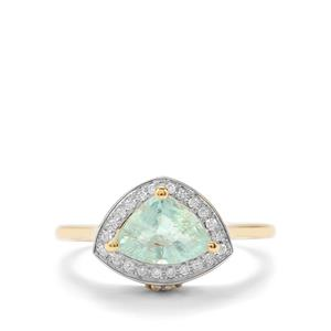 Paraiba Tourmaline Ring with Diamond in 18K Gold 1.15cts