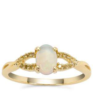 Coober Pedy Opal Ring with Yellow Diamond in 9K Gold 0.55ct
