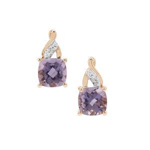Montezuma Blue Quartz & Diamond 9K Gold Earrings ATGW 1.79cts