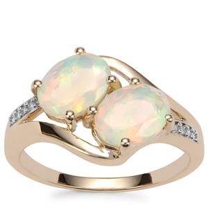 Ethiopian Opal Ring with Diamond in 9K Gold 1.56cts
