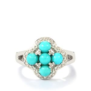 Sleeping Beauty Turquoise Ring in Sterling Silver 1.23cts