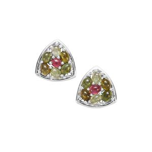 2.80ct Rainbow Tourmaline Sterling Silver Earrings