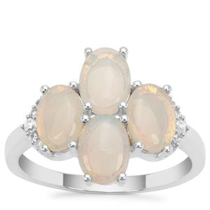 Coober Pedy Jelly Opal Ring with White Zircon in Sterling Silver 1.86cts