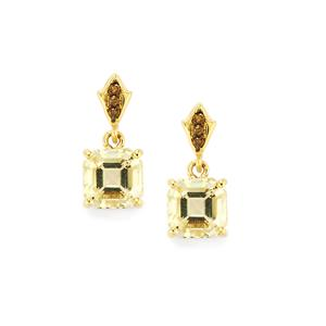 Serenite Earrings with Champagne Diamond in 10k Gold 2.24cts