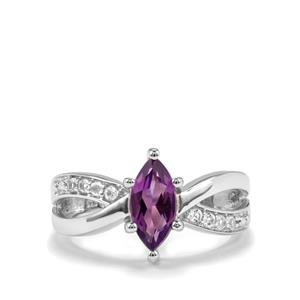 Zambian Amethyst & White Topaz Sterling Silver Ring ATGW 1.07cts