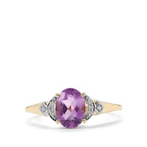 Zambian Amethyst & Diamond 10K Gold Ring ATGW 1.12cts