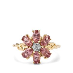 Mahenge Pink Spinel Ring with Diamond in 9K Gold 1.63cts