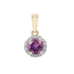 Moroccan Amethyst Pendant with White Zircon in 9K Gold 1.00cts