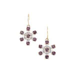 Mahenge Purple Spinel Earrings with White Zircon in 10K Gold 2.67cts