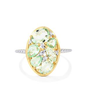 Paraiba Tourmaline Ring with Diamond in 10k Gold 1.69cts