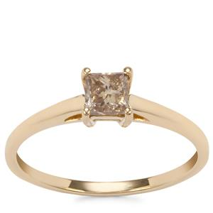 Champagne Diamond Ring in 9K Gold 0.53ct