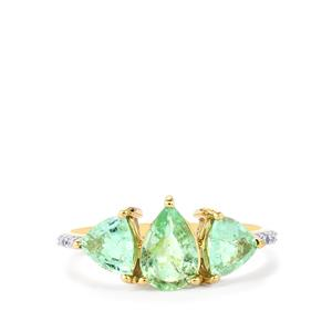 Paraiba Tourmaline Ring with Diamond in 10K Gold 1.84cts