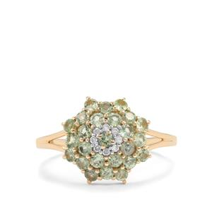 Alexandrite Ring with Diamond in 10K Gold 1cts
