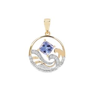AAA Tanzanite Pendant with White Zircon in 9K Gold 1.63cts
