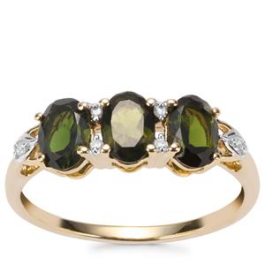 Chrome Tourmaline Ring with Diamond in 10K Gold 1.34cts