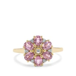 Sakaraha Pink Sapphire Ring with White Zircon in 9K Gold 1.53cts