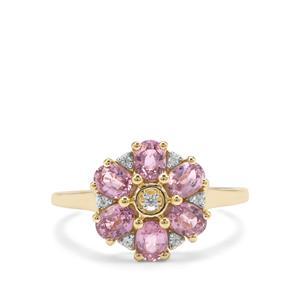 Sakaraha Pink Sapphire & White Zircon 9K Gold Ring ATGW 1.53cts