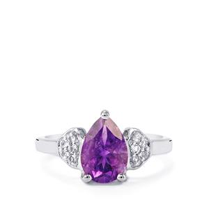 Moroccan Amethyst & White Topaz Sterling Silver Ring ATGW 1.88cts