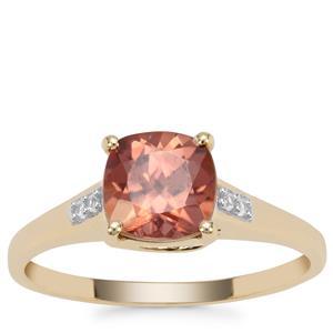Singida Marsala Zircon Ring with White Zircon in 9K Gold 2.29cts