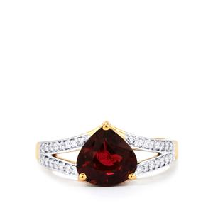 Nigerian Rubellite Ring with Diamond in 18k Gold 2.21cts