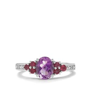 Moroccan Amethyst, Rajasthan Garnet & White Zircon Sterling Silver Ring ATGW 1.54cts